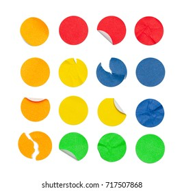 Round Colored Stickers Isolated on White Background.