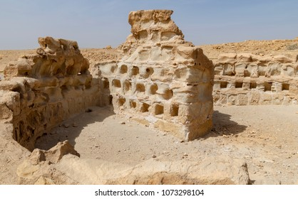a round columbarium dovecote tower at the masada fortress in israel