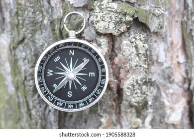 round compass on natural wooden background as symbol of tourism with compass, travel with compass and outdoor activities with compass