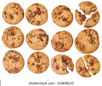 Round cookie with chocolate isolated over the white background, set different foreshortenings.