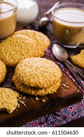 Round cookie with sesame seeds. Selective focus.