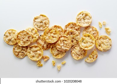 Round corn crackers  on white background