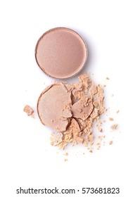 Round crashed beige eyeshadow for make up as sample of cosmetics product isolated on white background