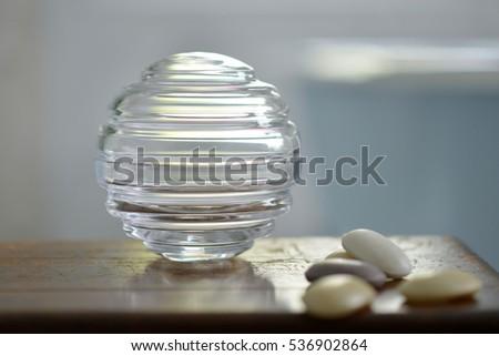 Round Decorative Glass Storage Jars Bathroom Stock Photo
