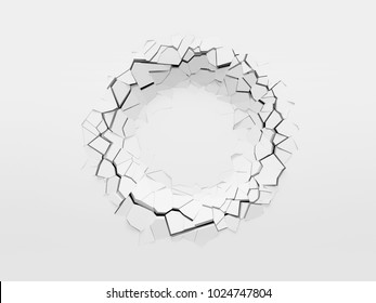 Round dent on the white wall, front view with copy space. 3d illustration.