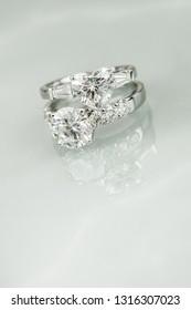 round diamond ring and heart shape diamond ring