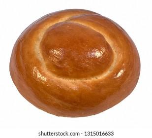 Round dough bun bun isolated on white background