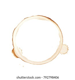 Round dried coffee stain isolated over the white background