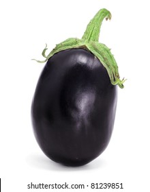 a round eggplant on a white background