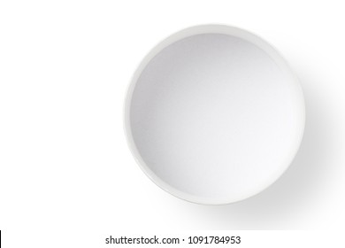 Round empty paper box isolated on white background, Top view.