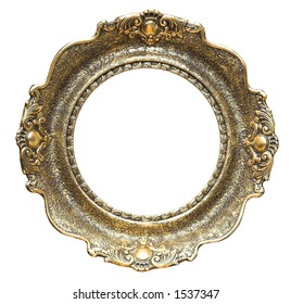 Round empty picture frame. Old style picture frame
