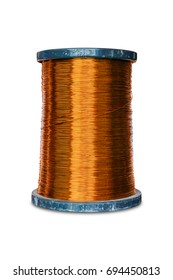 Round enameled copper wire or magnet wire in spool packaging, used for transformer manufacturing, isolated with clipping path