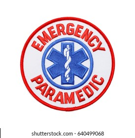 Round Fabric Emergency Paramedic Patch Isolated on White Background.
