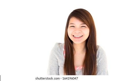 round face and white skin thai hairy woman with gray coat is smiling on white background