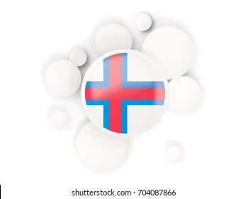 Round flag of faroe islands with circles pattern isolated on white. 3D illustration