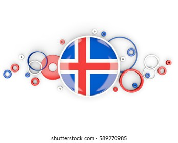 Round flag of iceland with circles pattern isolated on white. 3D illustration