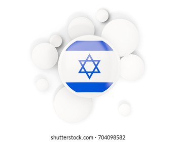 Round flag of israel with circles pattern isolated on white. 3D illustration