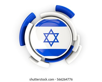 Round flag of israel with color pattern  isolated on white. 3D illustration