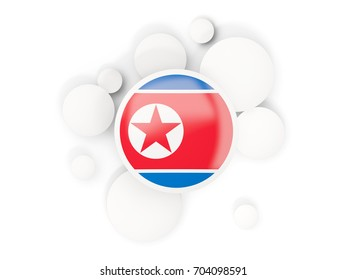 Round flag of korea north with circles pattern isolated on white. 3D illustration