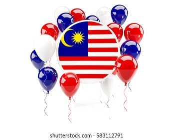 Round flag of malaysia with balloons isolated on white. 3D illustration