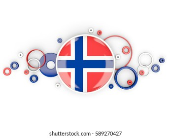 Round flag of norway with circles pattern isolated on white. 3D illustration