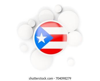 Round flag of puerto rico with circles pattern isolated on white. 3D illustration