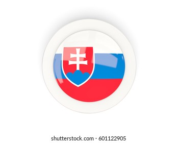 Round flag of slovakia with carbon frame. 3D illustration
