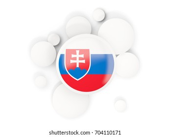 Round flag of slovakia with circles pattern isolated on white. 3D illustration