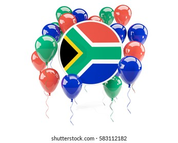 Round flag of south africa with balloons isolated on white. 3D illustration