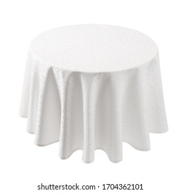 Round floating empty table with elegant textile cover cloth isolated on white background