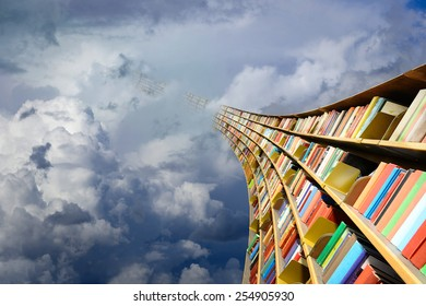 Round flying bookshelf against blue sky