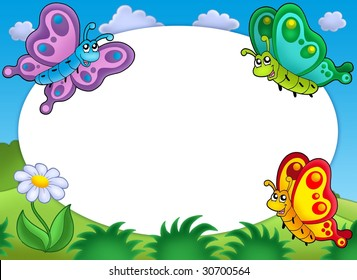 Round frame with cute butterflies - color illustration.