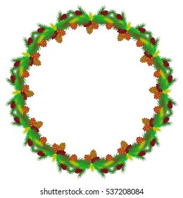 Round frame with decorative pine-cones.  Raster clip art.
