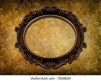 round frame on shabby wallpaper