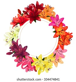 Round frame surrounded by multicolored lilies. Floral card or background, illustration.