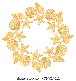 Round frame from various shells. Color illustration of a summer theme.