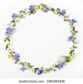 Round frame wreath made of spring wildflowers, lilac flowers, pink buds, leaves and snail shell isolated on white background. Top view. Flat lay.