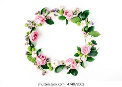 round frame wreath pattern with roses, pink flower buds, branches and leaves isolated on white background. flat lay, top view