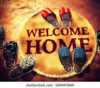 """Round furry rug with an inscription """" Welcome Home """" and slippers. Pajama party. 3d illustration"""