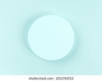 Podium géométrique arrondi turquoise pour l'affichage du produit et le texte. Conception abstraite, arrière-plan maquillage