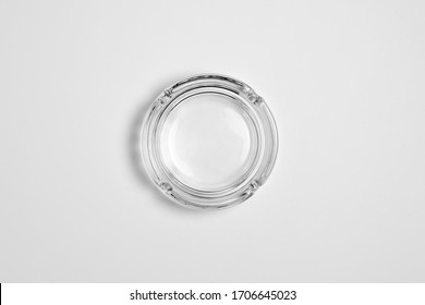 Round glass ashtray isolated on white background.High resolution photo.Top view.