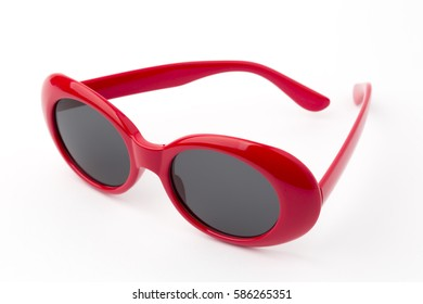 Round glasses isolated on white background, Vintage sunglasses, Red