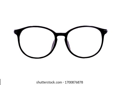 Round Glasses Women. Already used The image is sharp close. Is a good background. Suitable for use. Black eyeglasses isolated on white background.