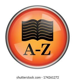 Round glossy icon with black design on orange background