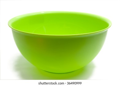 Round green bowl, isolated on white