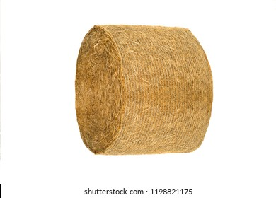 Round hay bale isolated on a white background