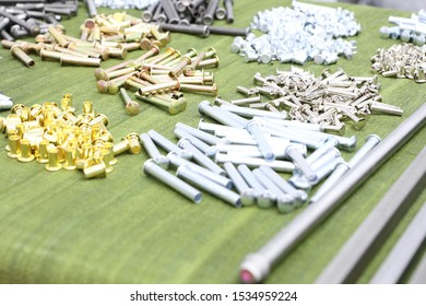 The round head rivets ,  metal products ; manufacturing process ; industrial background