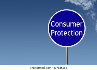 Round highway road sign with text Consumer Protection