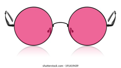 8d95f83abd Round hippy glasses with pink lens