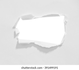 Round hole in paper with white background inside with clipping path.